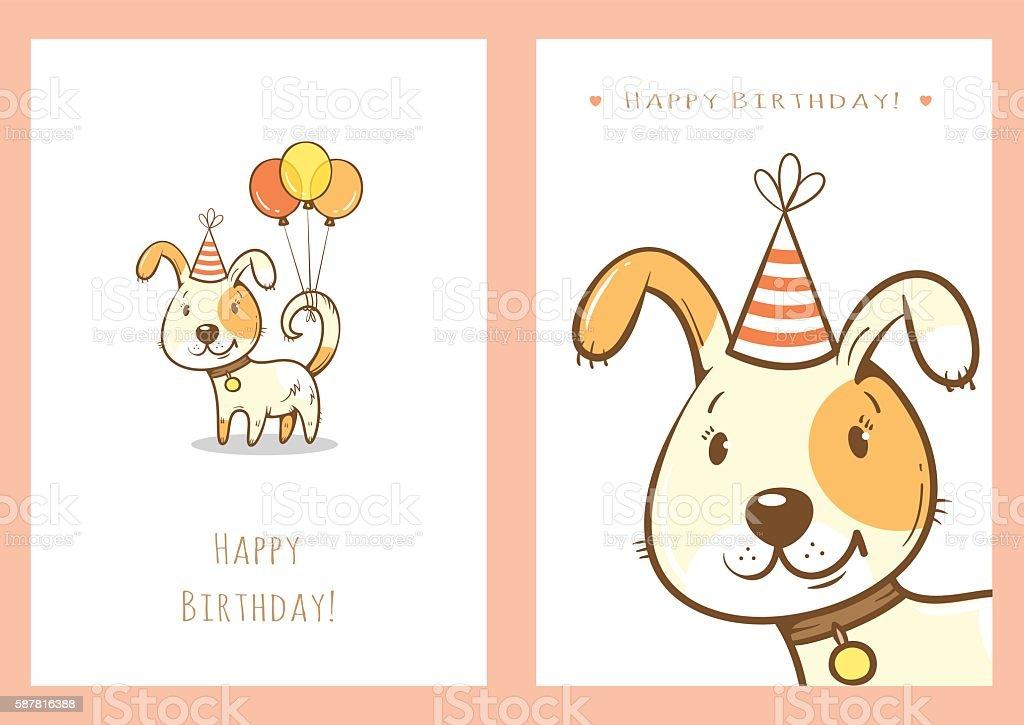 Birthday cards set. vector art illustration