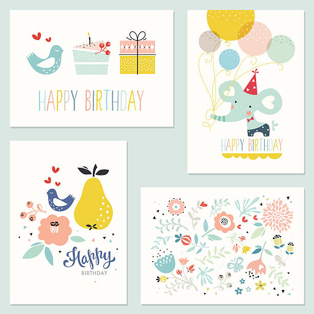 Birthday Cards Set of 4 birthday cards with decorative flowers, baby elephant, balloons, pear, floral elements, leaves, branches, bird, butterfly, hearts, gift box, and birthday cake. Good for greeting cards, birthday cards, birthday invitations, posters and scrapbooking. Vector illustration. cake borders stock illustrations