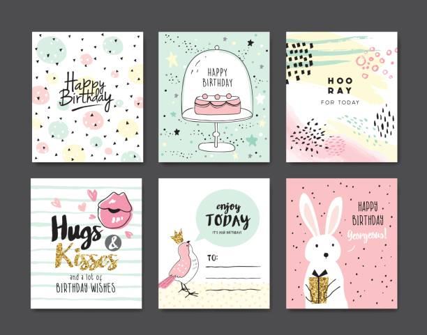 birthday cards - kiss stock illustrations