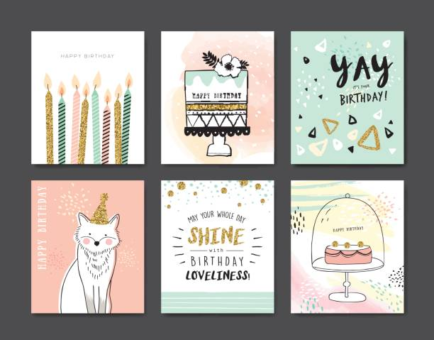 birthday cards - happy birthday cake stock illustrations, clip art, cartoons, & icons
