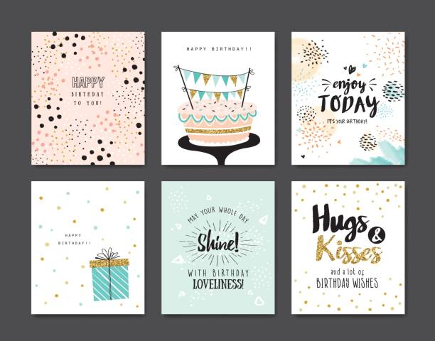 Birthday cards vector art illustration