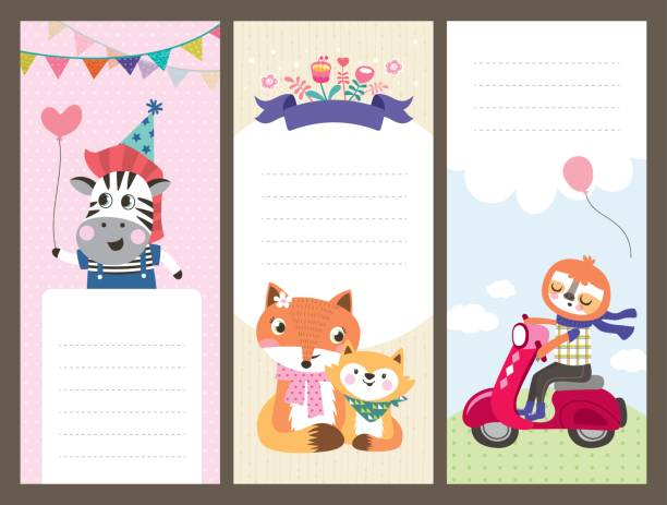 Birthday cards Cute cartoon animals gift tags/ greeting card baby sloth stock illustrations