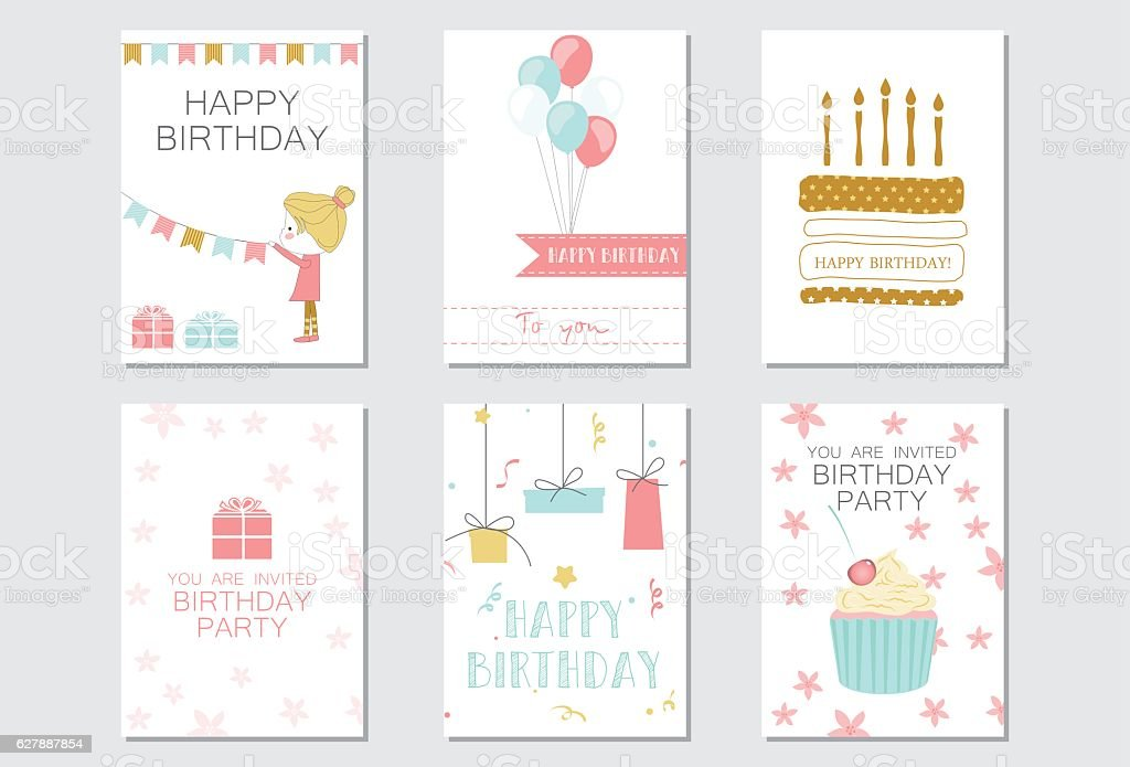 Birthday Cards With Cakes Balloons Gifts And The Girl Lizenzfreies