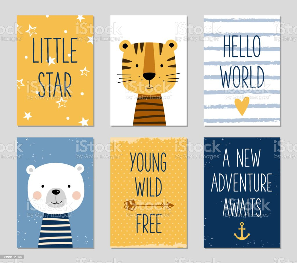 Birthday cards with cartoon tiger and bear for baby boy and kids. vector art illustration