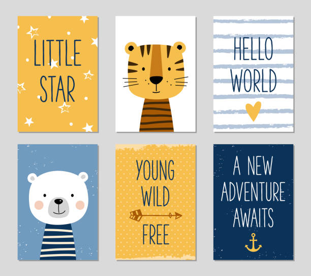 birthday cards with cartoon tiger and bear for baby boy and kids. - chłopcy stock illustrations