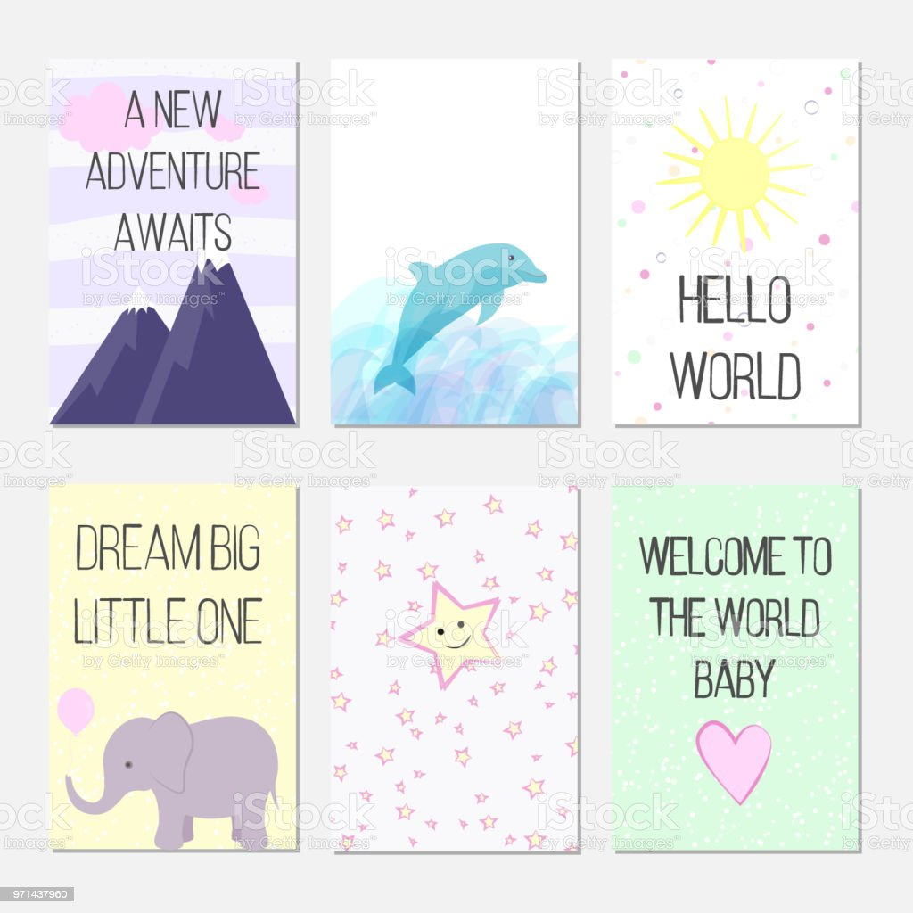 birthday cards with quotes cartoon dolphin and elephant for baby