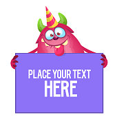Birthday cartoon monster holding invitation or blank greeting card
