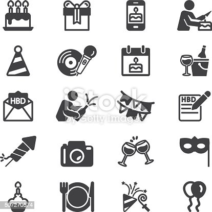Birthday Celebration and Party Silhouette Icons