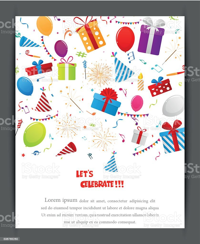 Birthday Celebration Banner With Party Elements Stock