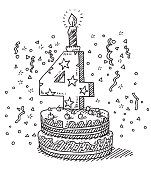 Hand-drawn vector drawing of a Birthday Celebration Cake with the Number 4 and a burning Candle on top. Black-and-White sketch on a transparent background (.eps-file). Included files are EPS (v10) and Hi-Res JPG.