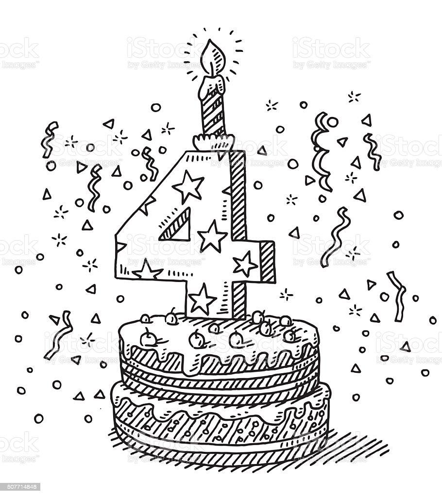 Fête d'anniversaire avec gâteau de dessin numéro 4 - Illustration vectorielle