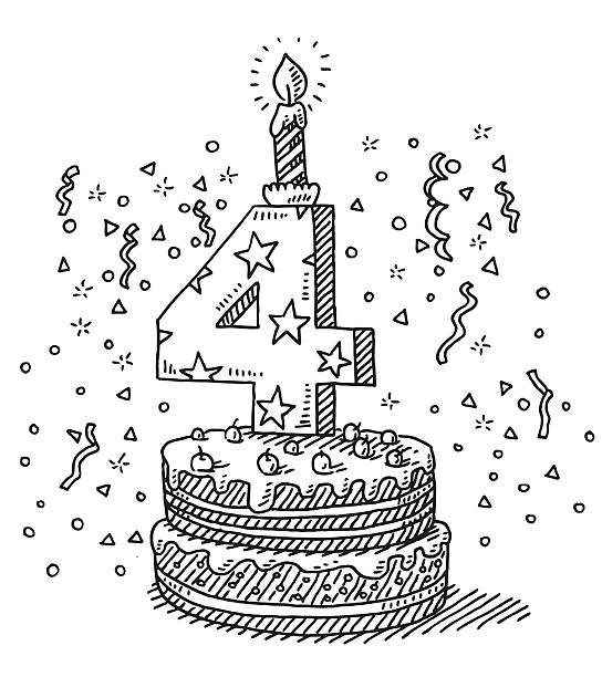 Birthday Celebration Cake Number 4 Drawing Hand-drawn vector drawing of a Birthday Celebration Cake with the Number 4 and a burning Candle on top. Black-and-White sketch on a transparent background (.eps-file). Included files are EPS (v10) and Hi-Res JPG. celebration stock illustrations