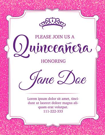 Birthday celebration flyer for Latin America girl.  Quinceanera calligraphy. Vector stock illustration.
