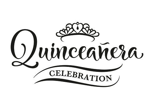 15 birthday celebration lettering for Latin America girl.  Quinceanera calligraphy. Black text isolated on white background. Vector stock illustration.