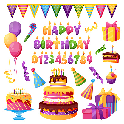 Birthday celebration party decor. Vector candles with numbers, Happy Birthday letters, gift, cake design elements