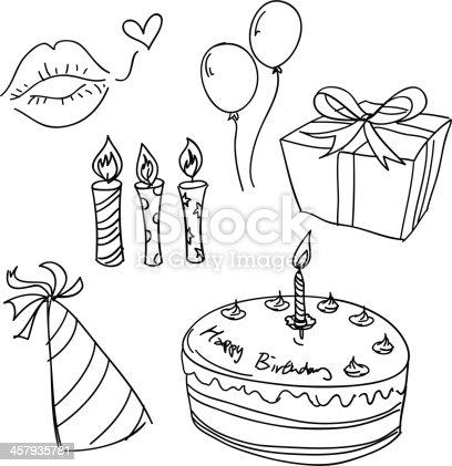 istock Birthday celebration sketch in black and white 457935781