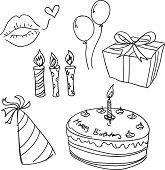 Birthday celebration sketch in black and white