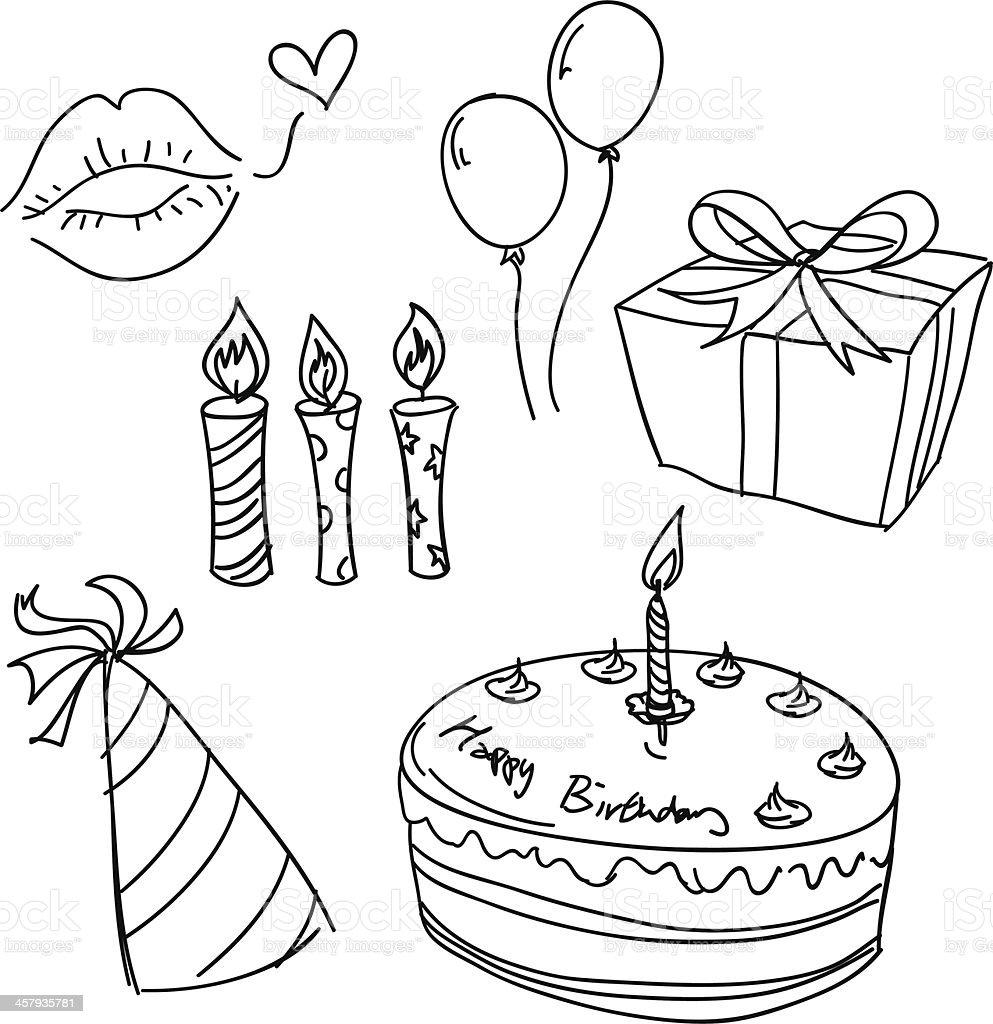 Fête d'anniversaire croquis en noir et blanc - Illustration vectorielle