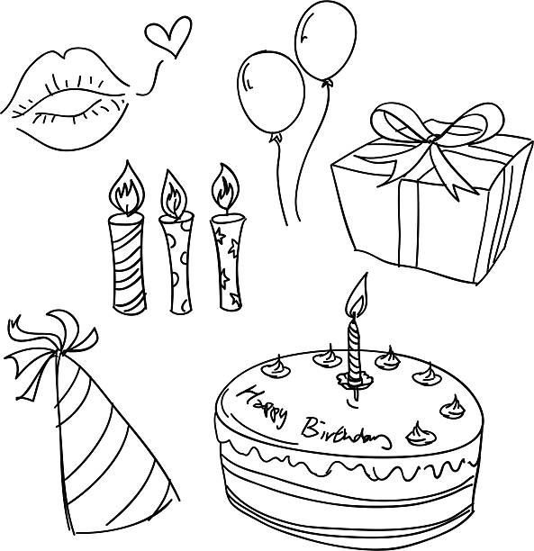 Birthday celebration sketch in black and white Birthday celebration sketch in black and white cake drawings stock illustrations