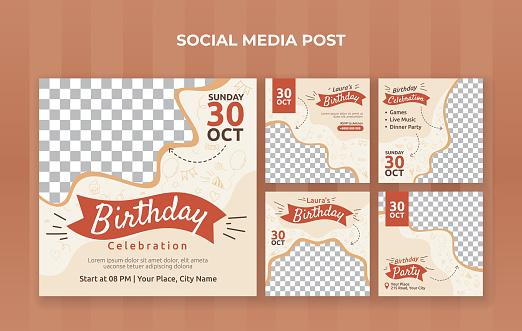 Birthday celebration social media post template. Suitable for birthday invitation