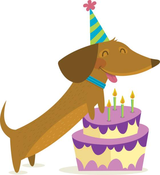 Top Dog With Birthday Hat Cartoons Vector Images Illustrations And Clip Art