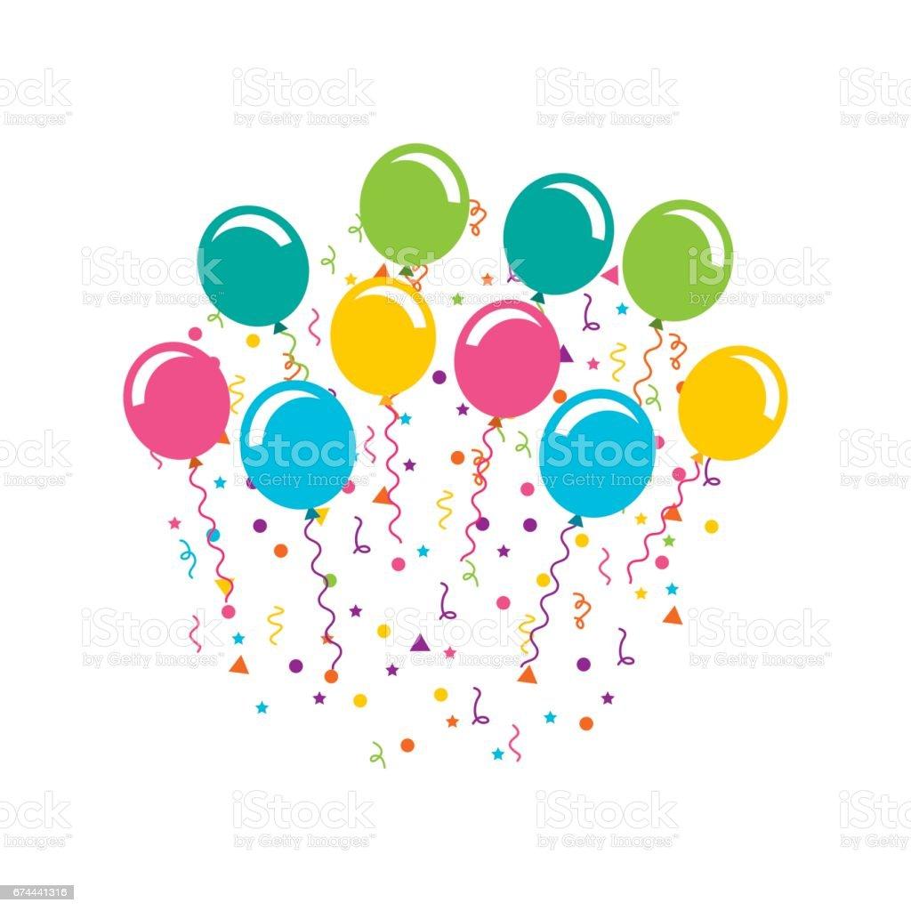 celebración de cumpleaños con globos aire partido ilustración de celebración  de cumpleaños con globos aire partido c4ddd621fc8