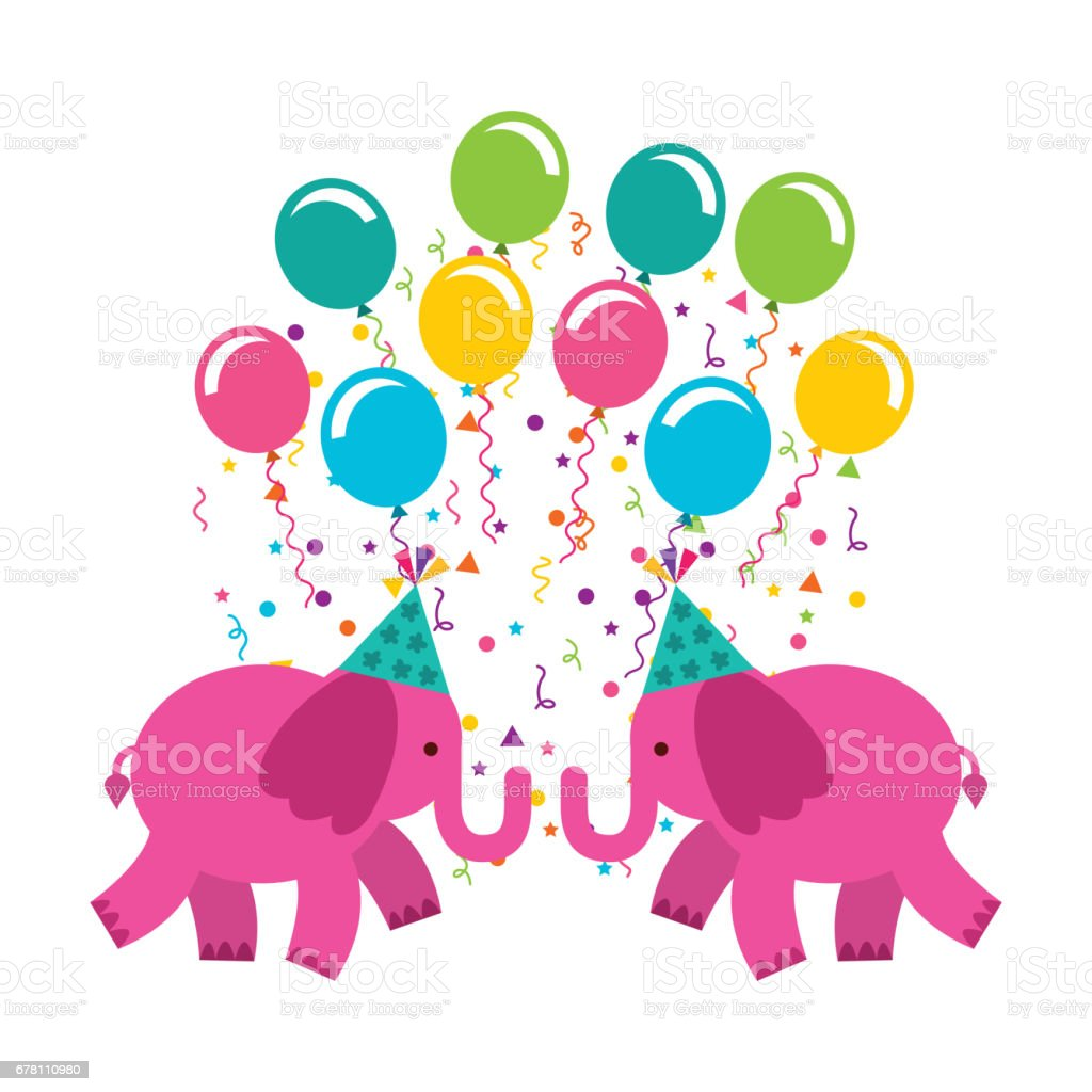 birthday celebration with balloons air party vector art illustration