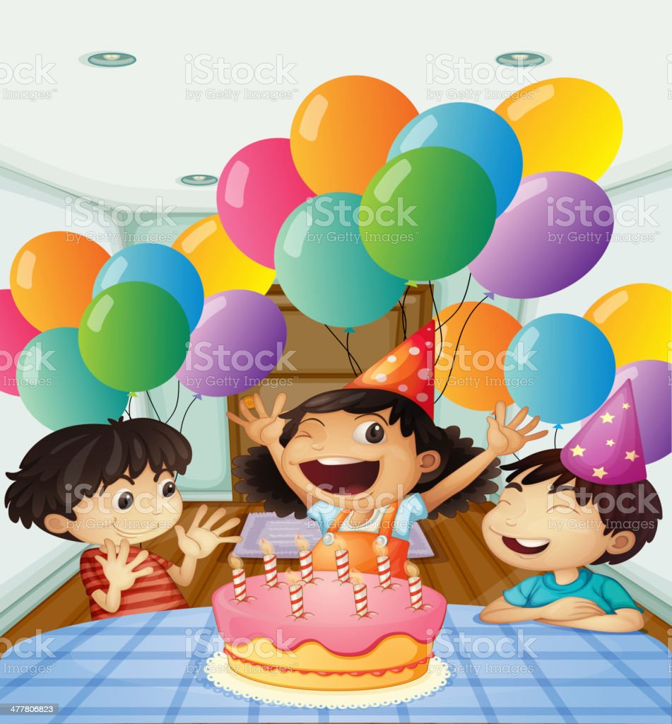 birthday celebration with balloons and cake royalty-free stock vector art