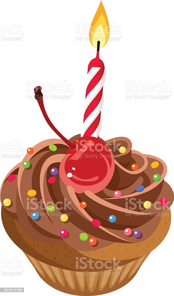 Birthday Chocolate Cupcake With Cream Cherry Sprinkles And Candle Vector Royalty