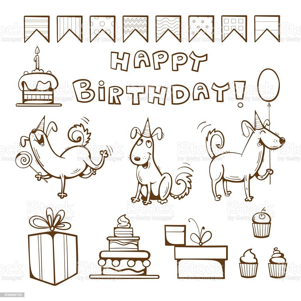 Ilustración de Cumpleaños Para Colorear Libro y más banco de ...