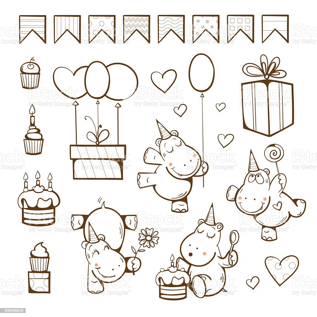 Birthday Coloring Book Stock Illustration - Download Image Now - IStock