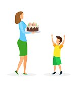 Birthday Congratulations Flat Vector Illustration