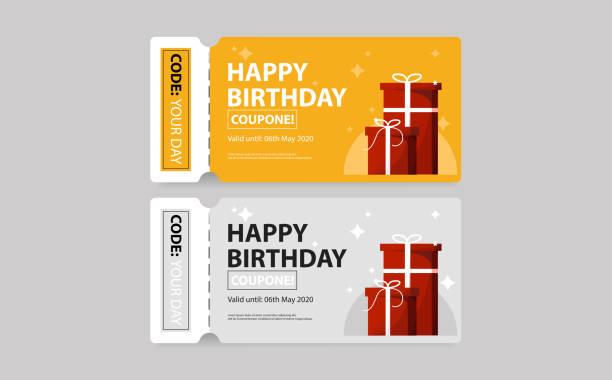 stockillustraties, clipart, cartoons en iconen met verjaardag coupon. ticket. cadeaukaart te koop. vector - birthday gift voucher