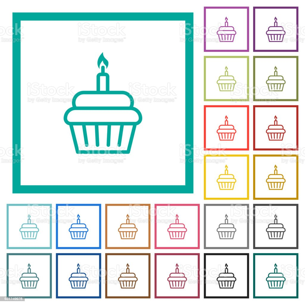 Birthday Cupcake Flat Color Icons With Quadrant Frames Stock Vector ...
