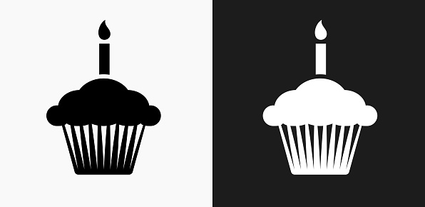 Birthday Cupcake Icon on Black and White Vector Backgrounds