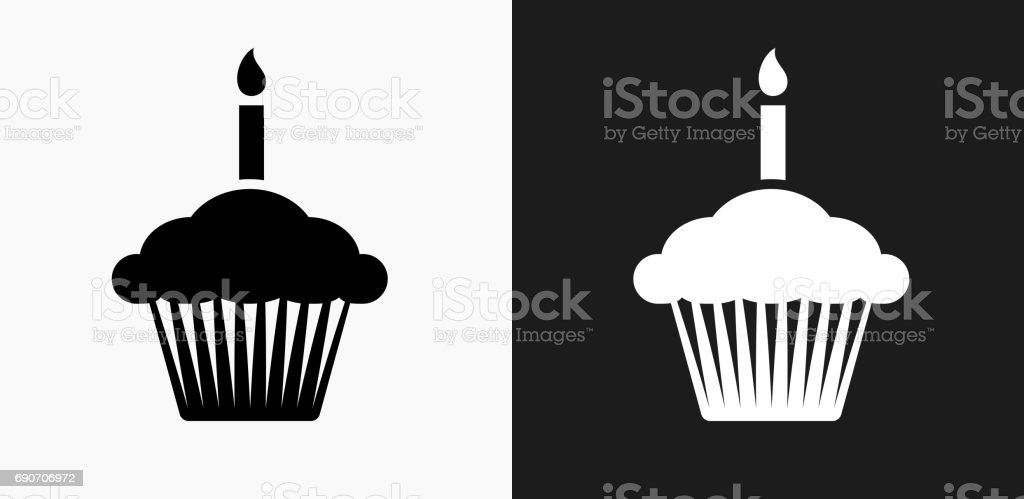 Birthday Cupcake Icon on Black and White Vector Backgrounds vector art illustration