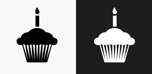 birthday cupcake icon on black and white vector backgrounds - cupcake stock illustrations, clip art, cartoons, & icons