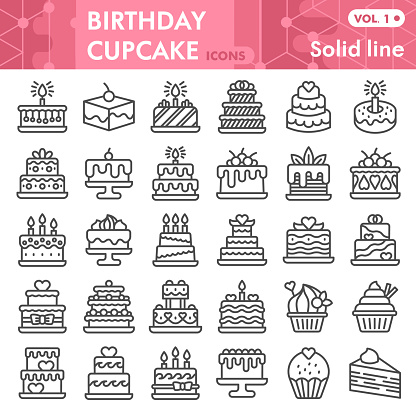 Birthday cupcake line icon set, Sweets symbols collection or sketches. Sweet pastry linear style signs for web and app. Vector graphics isolated on white background.
