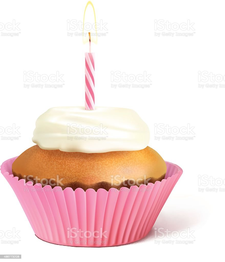 Birthday cupcake witch candle isolated on white background. Vector illustration vector art illustration