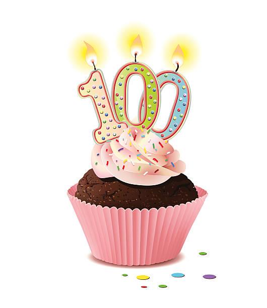 bildbanksillustrationer, clip art samt tecknat material och ikoner med birthday cupcake with candle number 100, - nummer 100