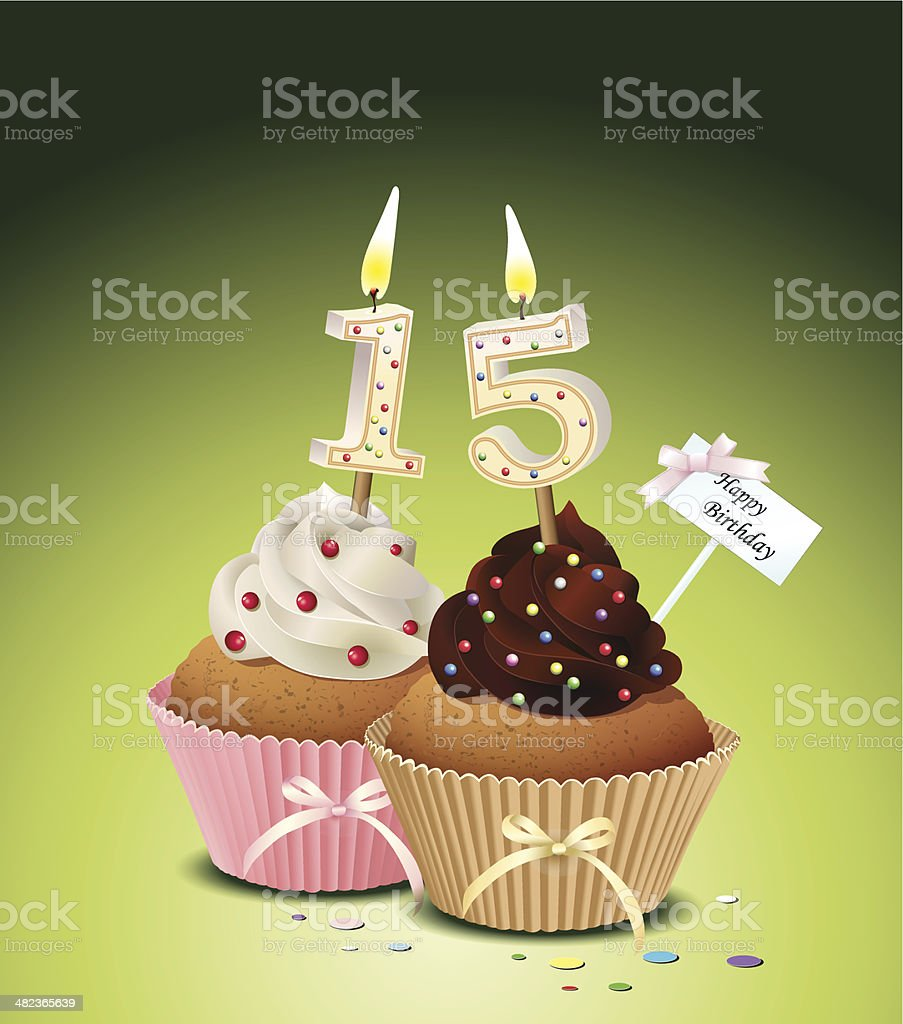 Birthday cupcake with candle number 15 vector art illustration