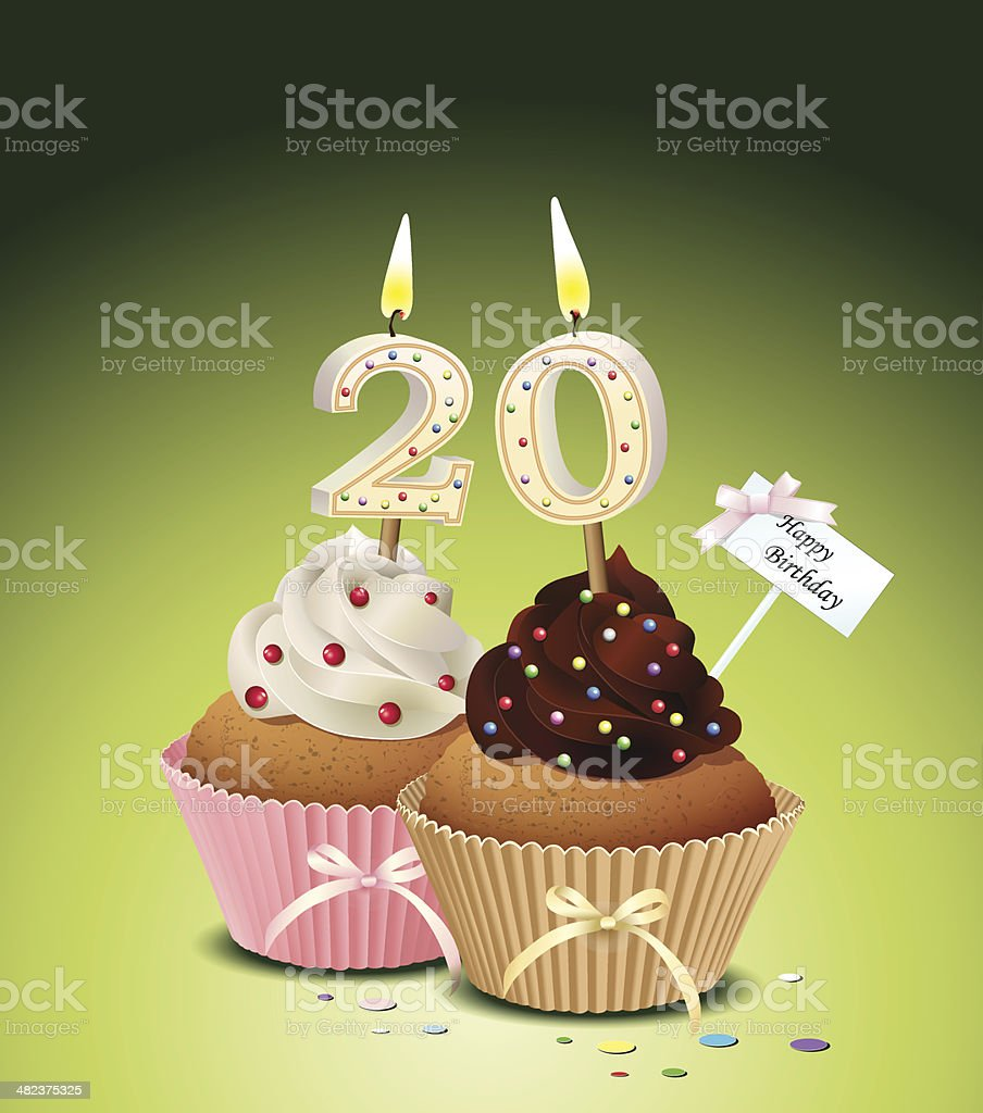 Birthday Cupcake With Candle Number 20 Stock Vector Art More
