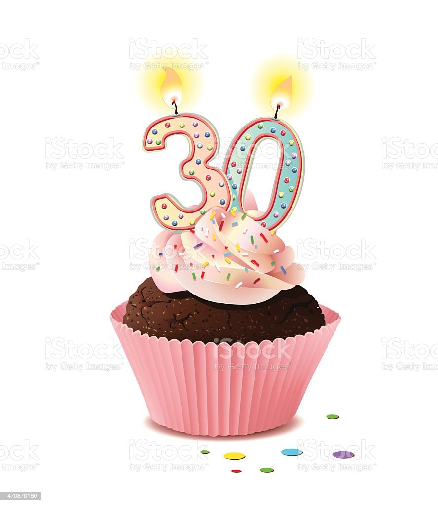 Birthday Cupcake With Candle Number 30 Stock Illustration