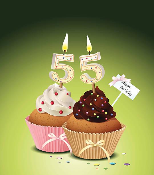 bildbanksillustrationer, clip art samt tecknat material och ikoner med birthday cupcake with candle number 55 - 55 59 år