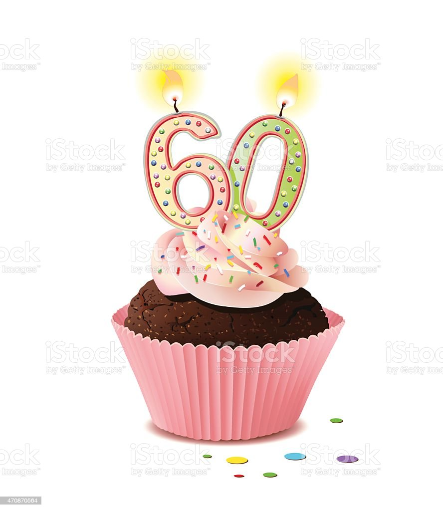 Download Birthday Cupcake With Candle Number 60 Stock Illustration ...