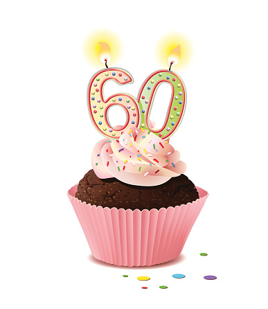 Birthday cupcake with candle number 60