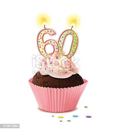 istock Birthday cupcake with candle number 60 470870564