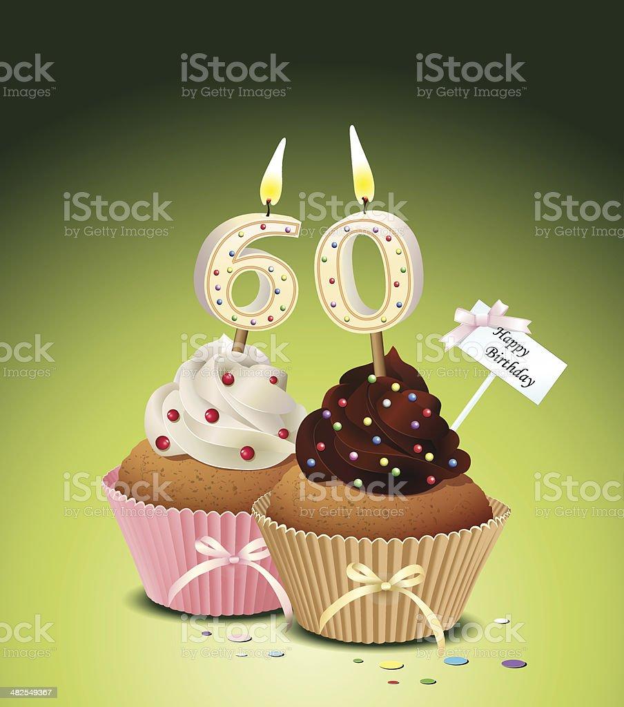 Compleanno cupcake con candela Numero 60 - illustrazione arte vettoriale