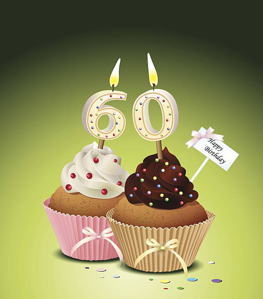 Birthday cupcake with candle number 60 vector art illustration