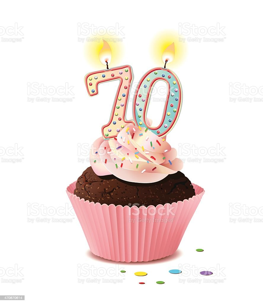 Birthday cupcake with candle number 70 vector art illustration
